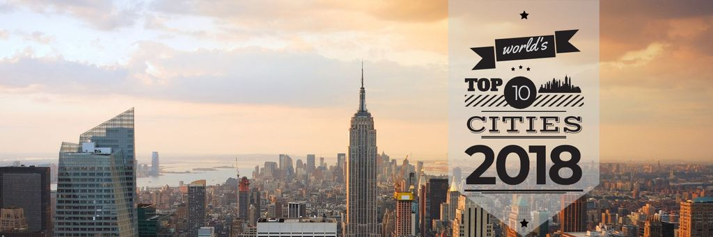 World's top 10 cities 2018 banner — Crear un diseño
