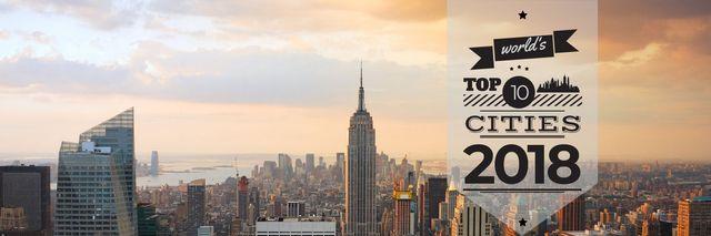 Modèle de visuel World's top 10 cities 2018 banner - Twitter