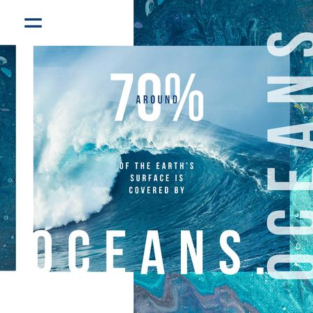 Template di design Ecology Concept with Blue water wave Instagram