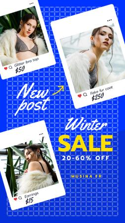 Fashion Sale Woman in Faux Fur Coat Instagram Story Modelo de Design