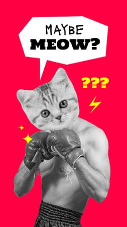 Funny Boxer with Cat's Head Instagram Story Modelo de Design