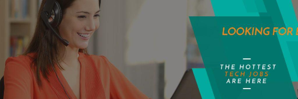 Tech jobs Ad with Female Consultant — Maak een ontwerp
