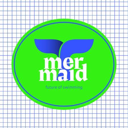Swimming Pool Ad with Fish Tail Illustration Logo – шаблон для дизайну