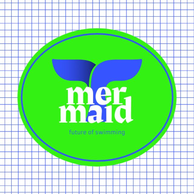 Swimming Pool Ad with Fish Tail Illustration Logo – шаблон для дизайна