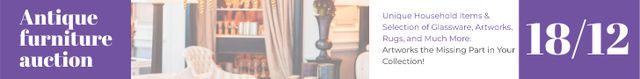 Plantilla de diseño de Antique Furniture Auction Leaderboard