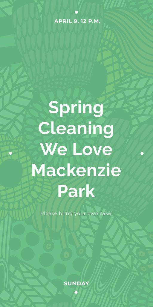 Ontwerpsjabloon van Graphic van Spring Cleaning Event Invitation Green Floral Texture