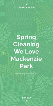 Spring Cleaning Event Invitation Green Floral Texture Graphic Tasarım Şablonu