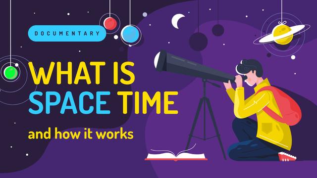 Modèle de visuel Space Theme Man with Telescope Watching Sky - Youtube Thumbnail