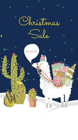 Modèle de visuel Christmas Sale Announcement with Funny Lama - Instagram Story