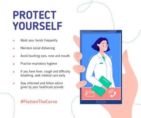 Plantilla de diseño de #FlattenTheCurve Preventive Recommendations with Doctor on screen Facebook