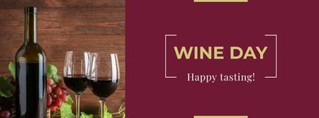 Wine Day Announcement with Wineglasses Facebook coverデザインテンプレート