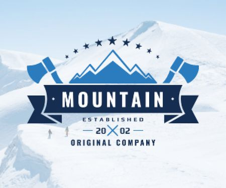 Journey Offer Mountains Icon in Blue Medium Rectangle Modelo de Design