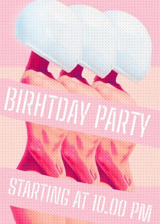Birthday Party Bright Announcement Invitation Modelo de Design