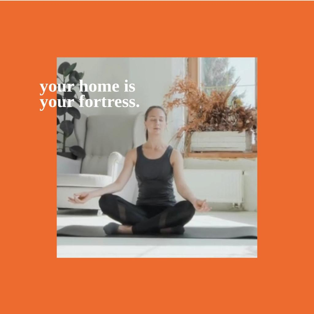 Woman meditating at Home — Create a Design