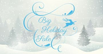 Big Holiday Sale with Snowy Forest