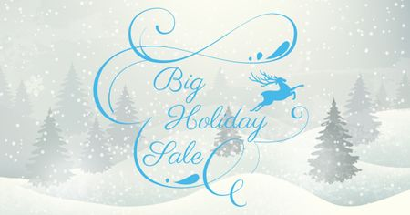 Szablon projektu Big Holiday Sale with Snowy Forest Facebook AD