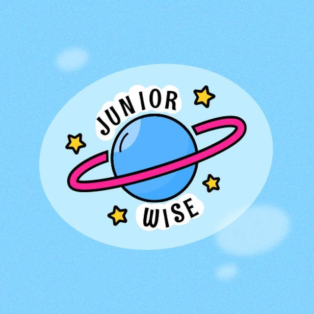 Ontwerpsjabloon van Logo van School Ad with Planet and Stars Illustration