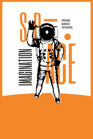 Space Exhibition with Astronaut Sketch in Orange Pinterest Modelo de Design