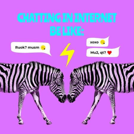 Ontwerpsjabloon van Instagram van Chatting in Internet Comparison with Funny Zebras