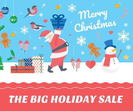 Christmas Holiday greeting Santa delivering Gifts Facebook Modelo de Design