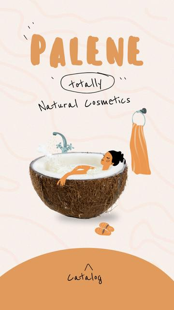 Natural Cosmetics Ad with Woman in Coconut Bath Instagram Storyデザインテンプレート