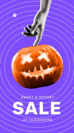 Modèle de visuel Halloween Sale Announcement with Spooky Pumpkin - Instagram Video Story