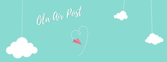 Valentine's Day Plane drawing Heart Facebook Video cover – шаблон для дизайна