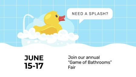 Ontwerpsjabloon van FB event cover van Bathtub with Foam and Rubber Duck