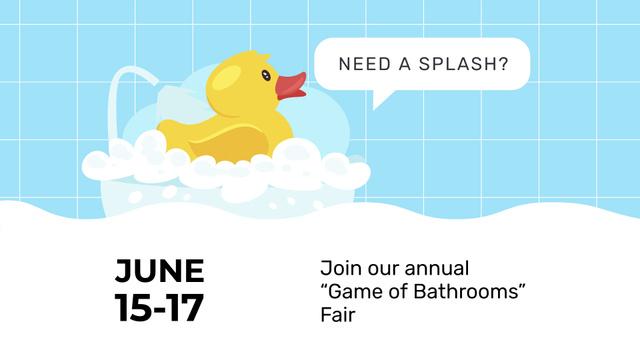 Ontwerpsjabloon van FB event cover van Bathtub with Foam and Rubber Duck