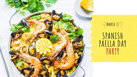 Spanish Paella party celebration FB event cover Design Template
