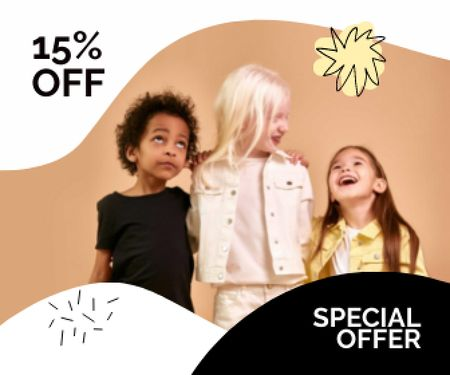 Special Discount Offer with Stylish Kids Large Rectangle Modelo de Design