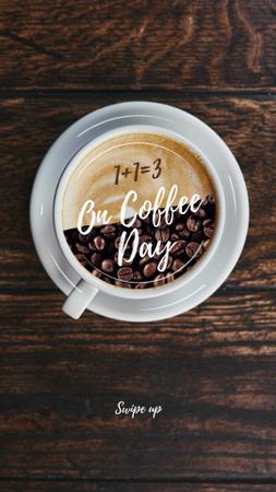 Designvorlage Beans and Coffee in Cup für Instagram Story
