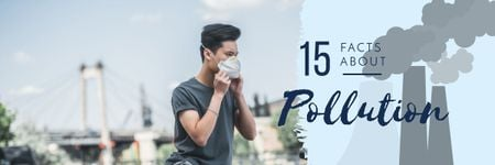 Pollution Facts with Man in Protective Mask Email header Tasarım Şablonu