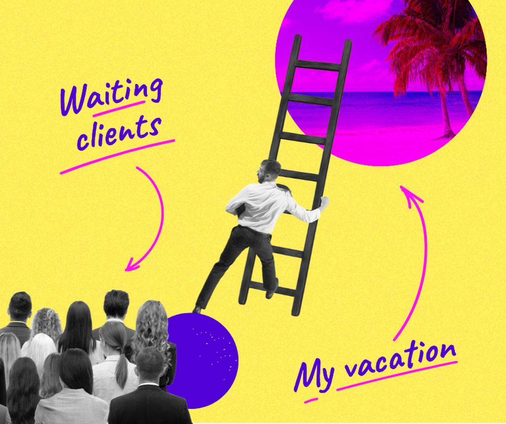Plantilla de diseño de Funny Joke about Work and Vacation Facebook