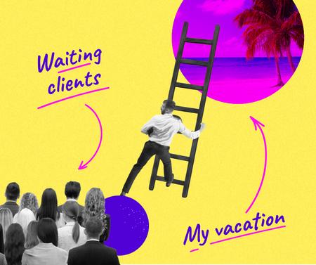 Designvorlage Funny Joke about Work and Vacation für Facebook