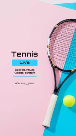 Template di design Tennis News Ad with Racket on court Instagram Story