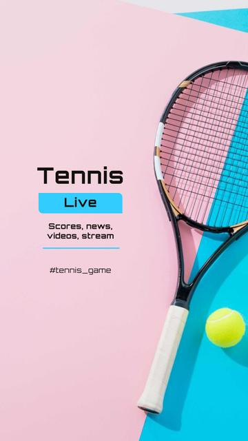 Tennis News Ad with Racket on court Instagram Storyデザインテンプレート