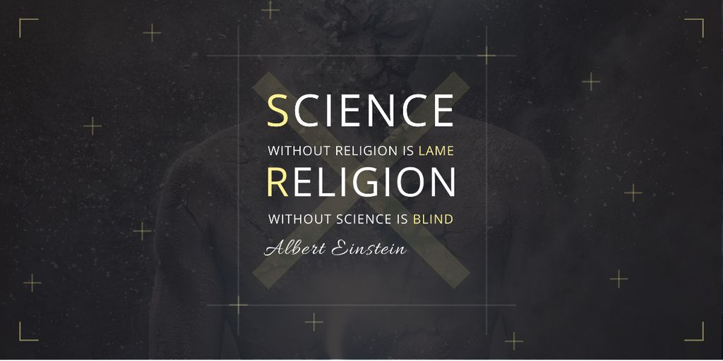 Citation about science and religion Image Design Template