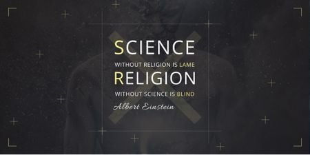Modèle de visuel Citation about science and religion - Image