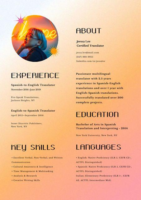 Certified Translator skills and experience Resume – шаблон для дизайна
