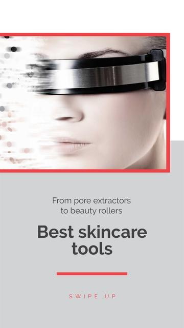 Designvorlage Skincare Tools Ad with Woman in Smart Glasses für Instagram Story