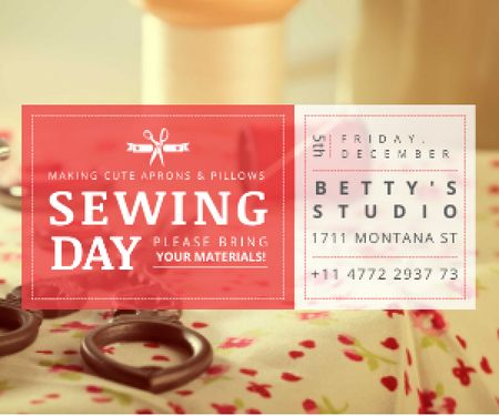 Designvorlage Sewing day event  für Medium Rectangle