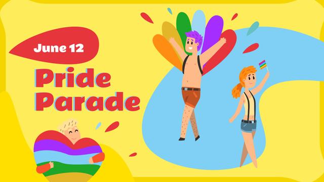 Modèle de visuel Pride Parade Announcement with LGBT colors - FB event cover