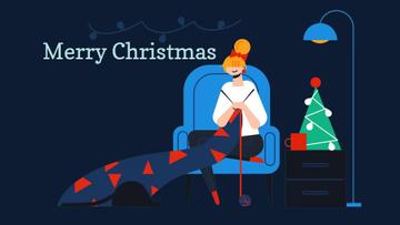 Woman knitting by Christmas tree