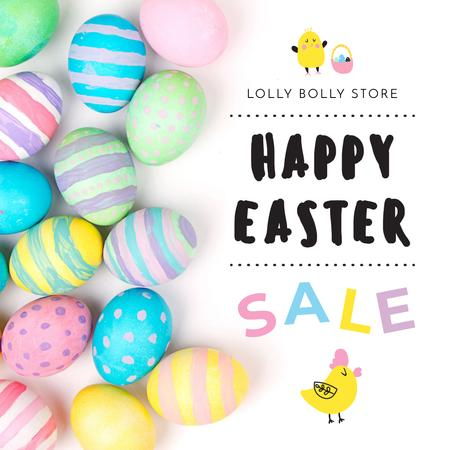Happy Easter sale with eggs and chicks Instagram AD Design Template