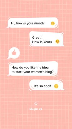 Plantilla de diseño de Girl Power Inspiration with Online Chatting Instagram Story