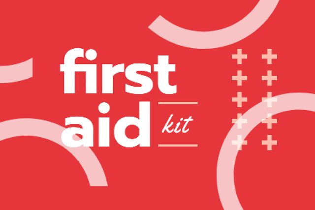 First Aid Kit promotion in red Label Design Template