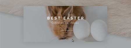 Modèle de visuel Cute bunny with Easter eggs - Facebook Video cover