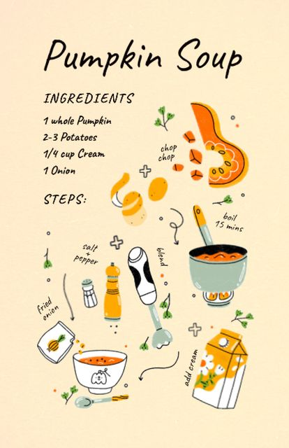 Platilla de diseño Pumpkin Soup Cooking Ingredients Recipe Card