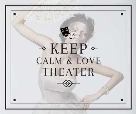 Theater Quote Woman Performing in White Facebook Modelo de Design